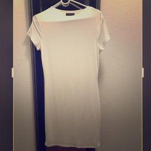 WHITE KNEE LENGTH CEFIAN DRESS